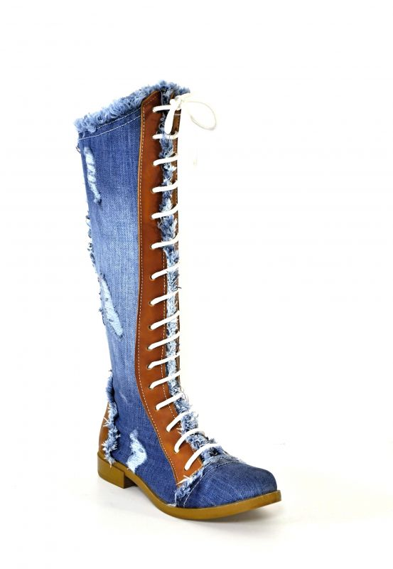 de7ce2737e75 kožená a atestovaná obuv Luxusní riflové kozačky s koženými prvky a  šněrováním 6144 Starbluemoon