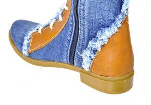 kožená a atestovaná obuv Luxusní riflové kozačky s koženými prvky a šněrováním 6144 Starbluemoon