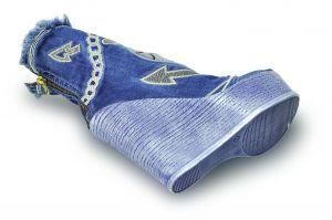 kožená a atestovaná obuv SET-Luxusní riflové botky+kabelka 4048 Starbluemoon