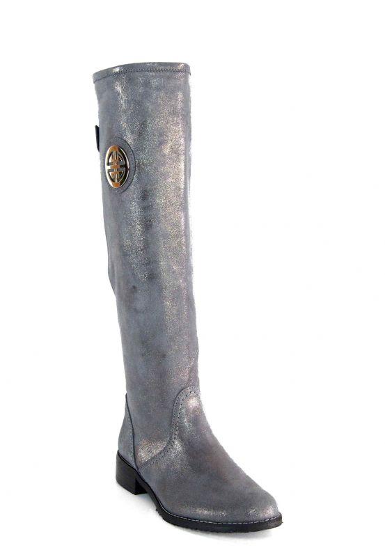 kožená a atestovaná obuv Zimní kozačky OC-91 s dvojkombinací zipu, šedo stříbřité Exquisite