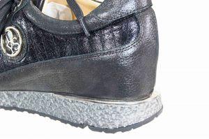 """kožená a atestovaná obuv Černé dámské sneakers """"DESSY"""" na malém klínku 0111 s šedou podrážkou"""