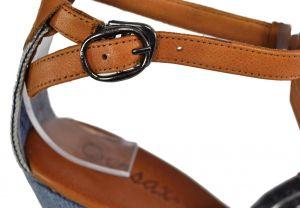 kožená a atestovaná obuv Riflové páskové sandálky 2094Y3 s otevřenou špičkou na klínu Ersax