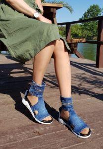"""Kotníkové luxusní boty -Jeans """"EMANI"""" 09-262-73 s dekorativní šňůrou"""