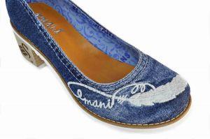 kožená a atestovaná obuv Dámské džínové lodičky na nízkém soklovém podpatku 42-01-76156 Emani