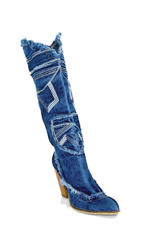 """kožená a atestovaná obuv Dámské džínové kozačky tz. """"Koně"""" 7017 s třásněmi Star Bluemoon"""