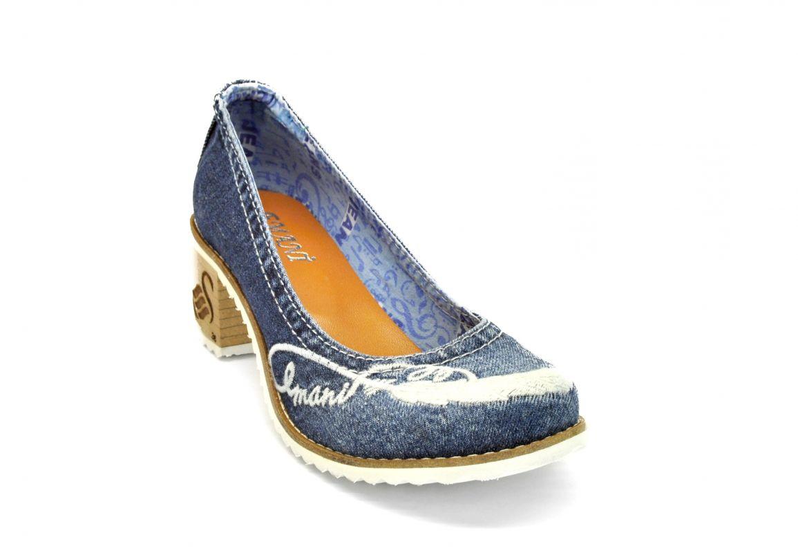 2ddebafb6868 kožená a atestovaná obuv Dámské džínové lodičky na nízkém soklovém podpatku  42-01-76156 Emani
