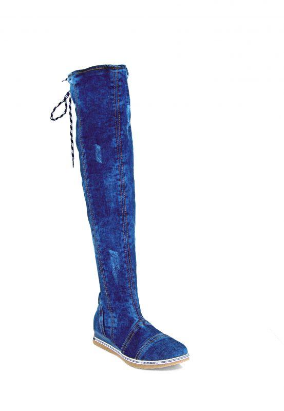 kožená a atestovaná obuv Džínové kozačky Star Bluemoon 5003 se šněrováním vzadu Starbluemoon