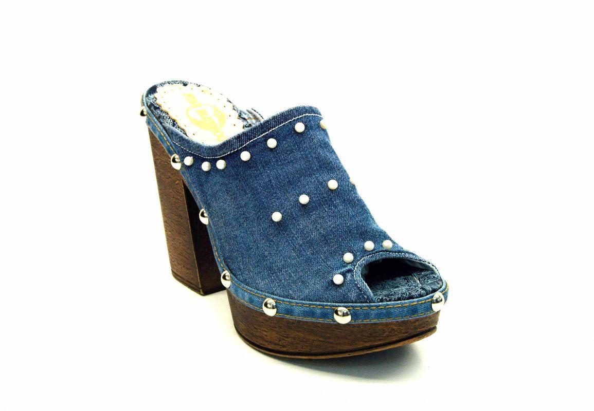 """kožená a atestovaná obuv Džínové luxusní nazouváky """"Star BlueMoon"""" na podpatku 948 Starbluemoon"""