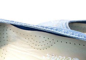 """kožená a atestovaná obuv """"ERSAX"""" 500-T3 džínové baleríny na platformě vy stylizované kovovými prvky"""