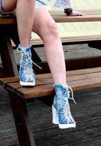"""Kotníkové botky Jeans 3012 na šněrování ,,peep toe"""""""