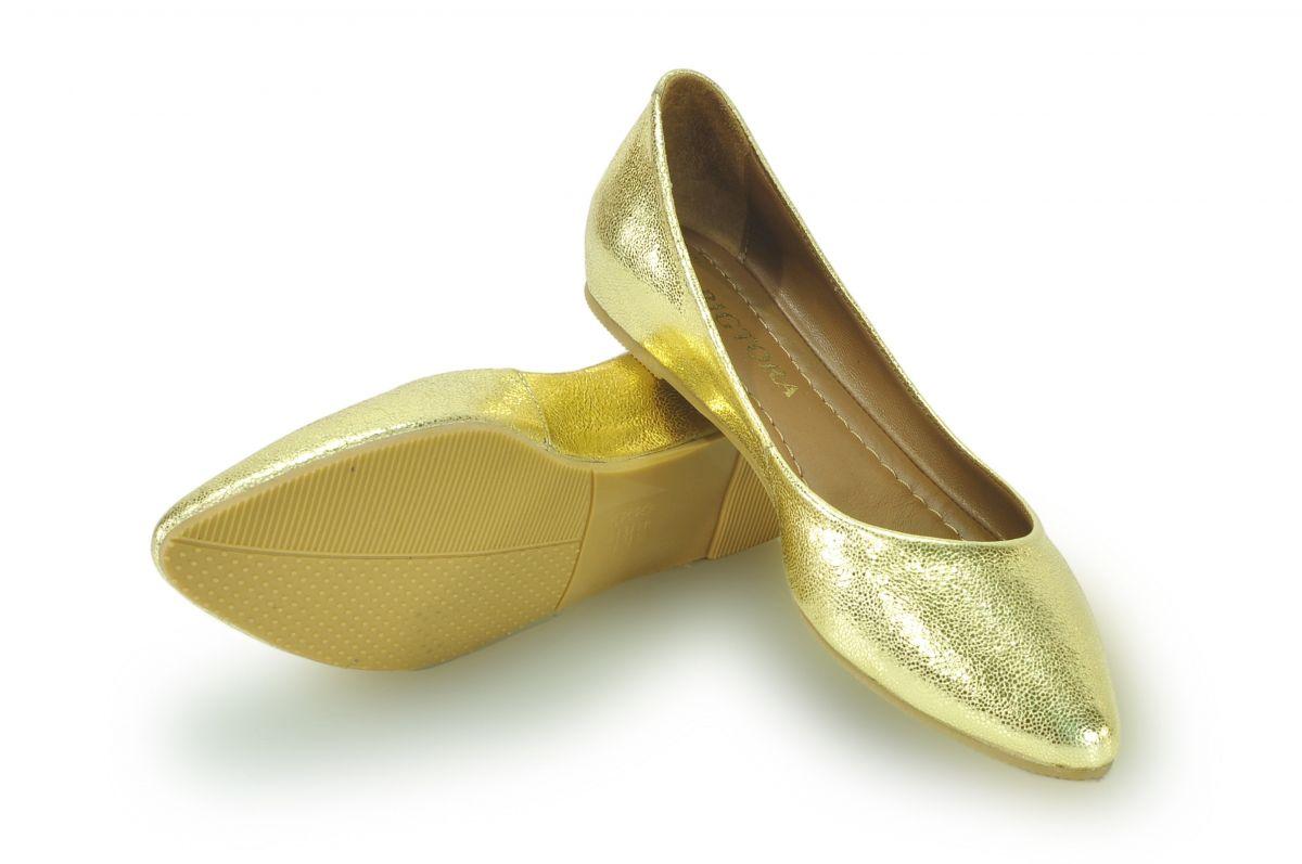 kožená a atestovaná obuv Kožené baleríny 042 zlaté Bigtora