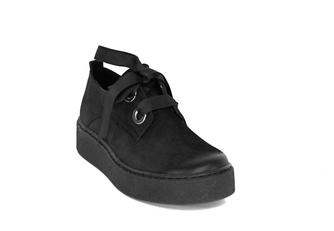 kožená a atestovaná obuv Černé dámské polobotky CheBello 2173 s vyšší platformou