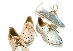 """Lakované boty 173 s perforací ,, dírkování  O """" na šněrování, Růžové -Stříbrné"""