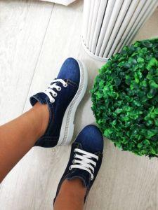 """kožená a atestovaná obuv Luxusní džínové polobotky """"EMANI"""" na bílé platformě s štrasovým proužkem 216. 05. 44-1"""