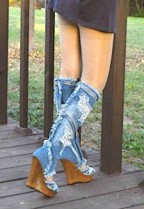 """kožená a atestovaná obuv Originální """"Jeans"""" kozačky 4044 na klínku Starbluemoon"""