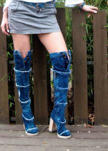 """Originální """"Jeans"""" nad kolenní kozačky s třásněmi  6041"""