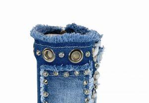 kožená a atestovaná obuv Originální nízké džínové kozačky 7018 na šněrování i zip Starbluemoon