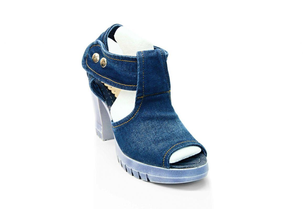 "kožená a atestovaná obuv Dámské džínové sandálky ""Star Bluemoon"" 953 Starbluemoon"