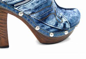 """kožená a atestovaná obuv Originální riflové nazouváky """"Star BlueMoon"""" 944 s podpatkem Starbluemoon"""