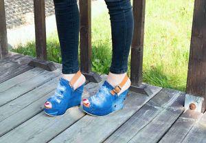 """kožená a atestovaná obuv Originální sandále """"JEANS"""" na klínku 7008 Starbluemoon"""