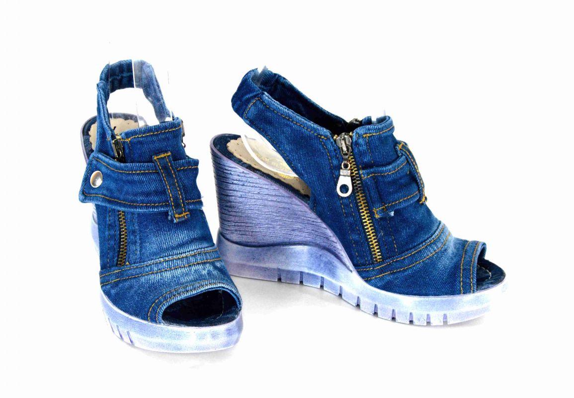 "bfb25bc3da86 kožená a atestovaná obuv Originální sandále ""JEANS"" na klínku 952  Starbluemoon"