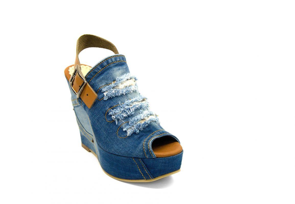 """c2f7cdad143d kožená a atestovaná obuv Originální sandále """"JEANS"""" na klínku 7008  Starbluemoon"""