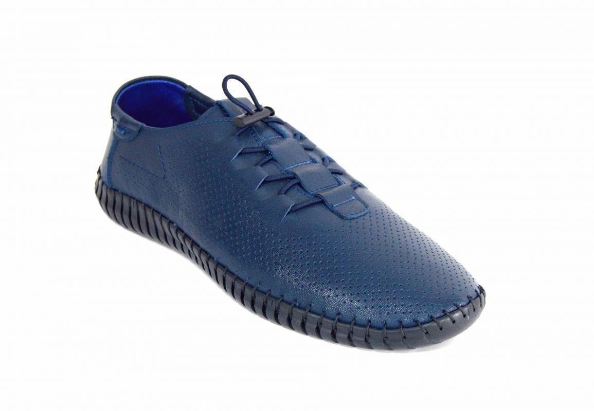 kožená a atestovaná obuv Pánské modré sportovní boty s černou platformou 137-874 Paulcruz