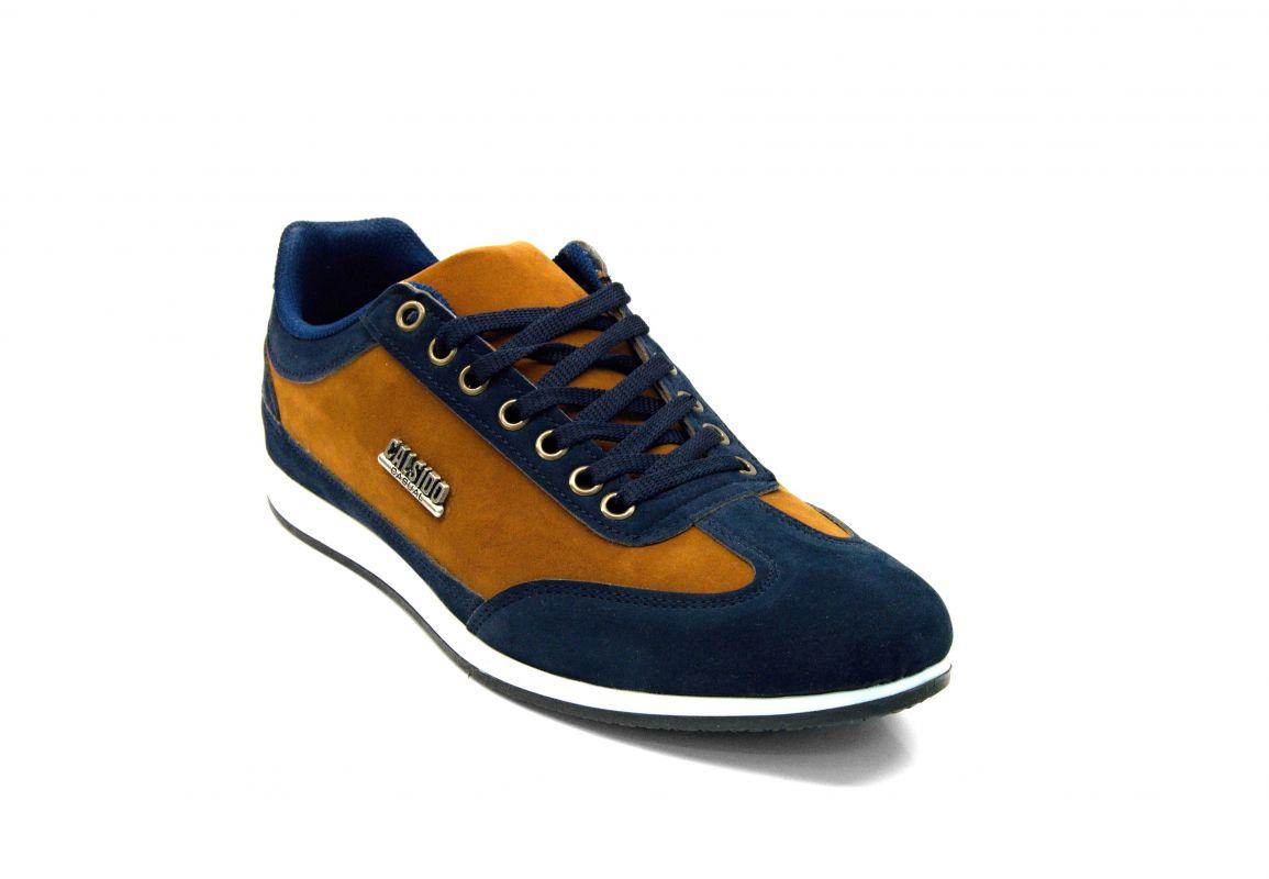 """kožená a atestovaná obuv Pánské sportovní boty 2420 """"Calsido"""" modro skořicové barvy"""