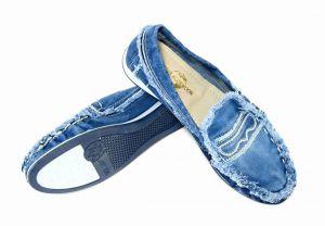 kožená a atestovaná obuv Zajímavé riflové mokasíny 4062 Starbluemoon