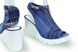 """kožená a atestovaná obuv Originální kotníčkové """"Jeans"""" sandály 15.12.275 s bílou klínovou platformou Blue Lion"""
