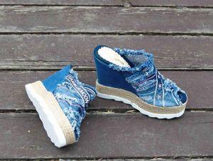"kožená a atestovaná obuv Riflové nazouváky ""Star BlueMoon"" s otevřenou špičkou na klínku 752 Starbluemoon"