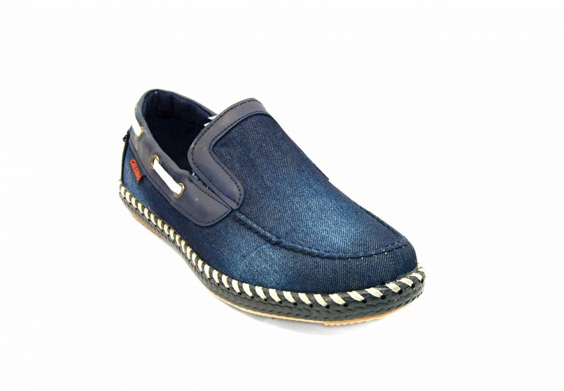 """kožená a atestovaná obuv Pánské espadrelky """"CALSIDO"""" 029 s tmavé džínoviny"""