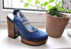 kožená a atestovaná obuv Riflové lodičky s volnou pátou Bluelion 1-2-37 na širokém podpatku Blue Lion