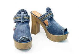 kožená a atestovaná obuv Riflové nazouváky Emani 5.10.76234 na širokém podpatky