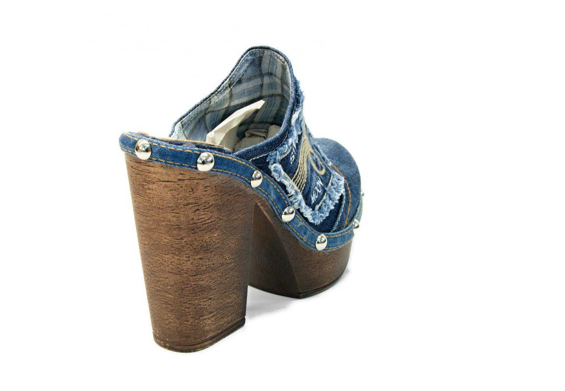 """fff383de281b kožená a atestovaná obuv Originální riflové nazouváky """"Star BlueMoon"""" 422 s  podpatkem Starbluemoon"""