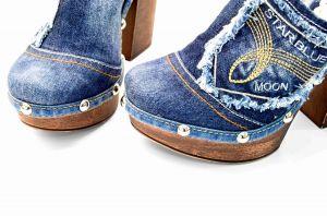 """kožená a atestovaná obuv Originální riflové nazouváky """"Star BlueMoon"""" 422 s podpatkem Starbluemoon"""