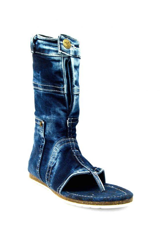 """a4c6a8f2e43e kožená a atestovaná obuv Nízké modré """"Jeans"""" kozačky s otevřenou špičkou  7007 Starbluemoon"""