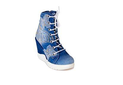 """kožená a atestovaná obuv Kotníčkové boty z džínoviny na klínku """"StarBlueMoon"""" 5057"""