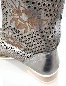 """kožená a atestovaná obuv Luxusní kožené letní kozačky s perforací """"MarcellaShoes"""" 12, metalické"""