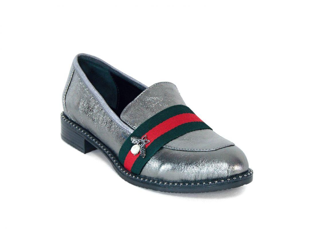 """kožená a atestovaná obuv Dámské luxusní kožené mokasíny """"MarcellaShoes"""" 06-11,šedo metalické"""