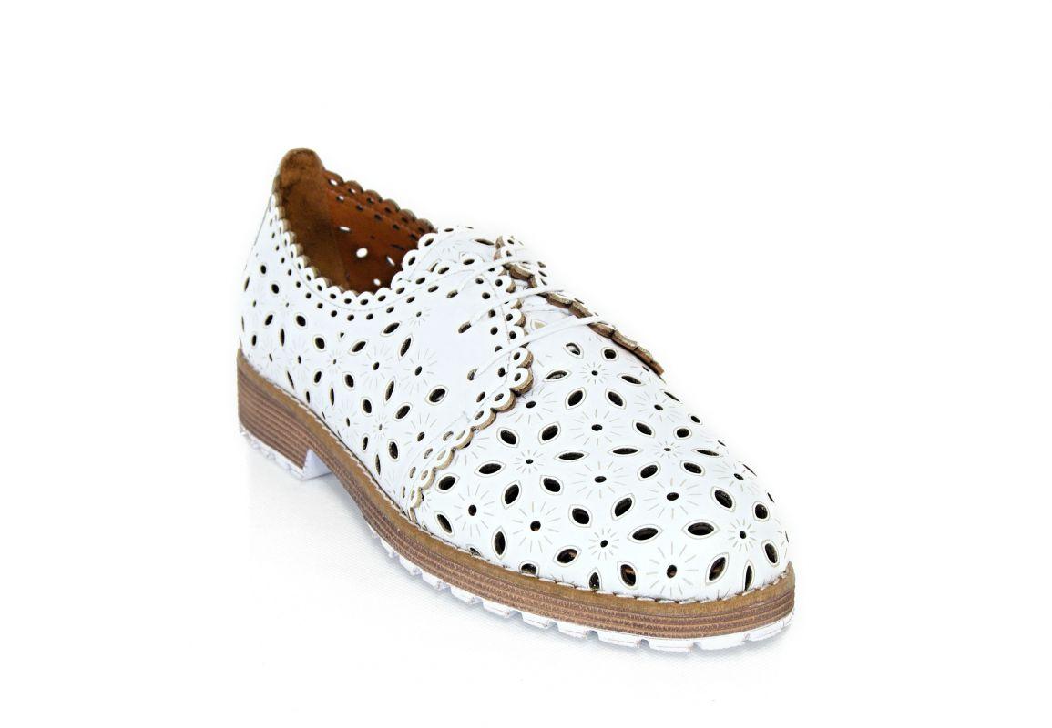 kožená a atestovaná obuv Dámské polobotky s výrazným floristickým vzorem 02, bílé s hnědou podešví Emani