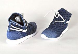 """kožená a atestovaná obuv Designové jeans kotníkové boty """"Emani"""" 119-09-16 s dekorativním šněrováním"""