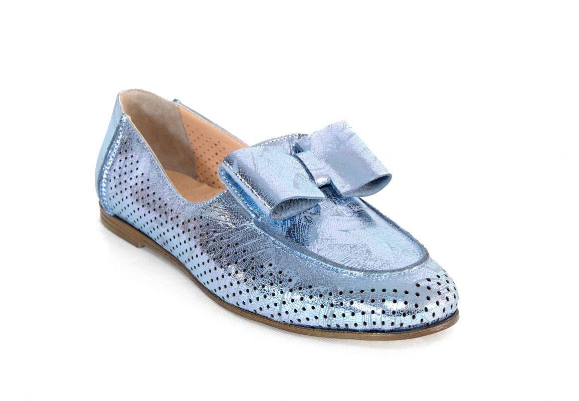 """kožená a atestovaná obuv Luxusní mokasíny """"Emani"""" s perforací 101, světle modré"""