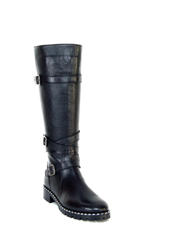 """kožená a atestovaná obuv Luxusní zimní kožené kozačky """"2744-101"""", na širokém podpatku Marcella"""