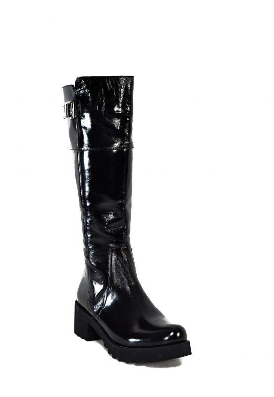 kožená a atestovaná obuv Kožené lakované kozačky 1514A zateplené na širokém podpatku, černé Balaban