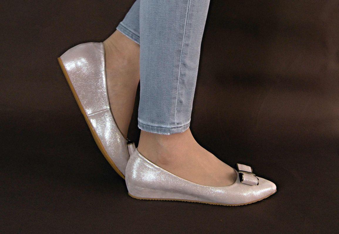 kožená a atestovaná obuv Luxusní baleríny s malým klínkem a mašličkou 221, růžové By can