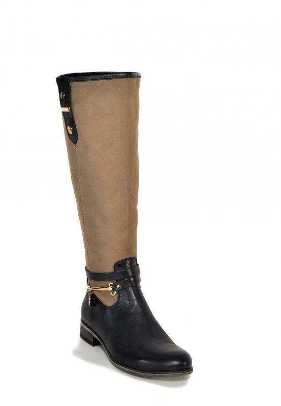 kožená a atestovaná obuv Luxusní dámské pod KT-709 podzimní kozačky Kati, hnědo béžové