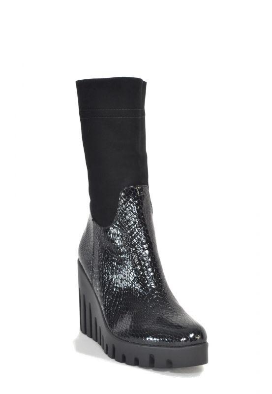 "kožená a atestovaná obuv Luxusní kožené kozačky ""Donna Style"" 1038 na klínku"