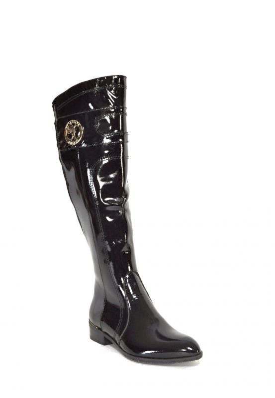 kožená a atestovaná obuv Luxusní lesklé kozačky, černá 467 Di Lusso Italy