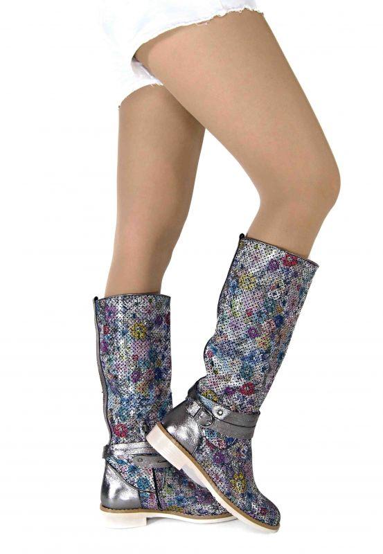 kožená a atestovaná obuv Luxusní letní kozačky s perforací a floristickým designem 2507, barevné Nemca